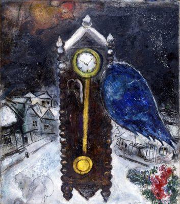 Часы с синим крылом. 1949 Частное собрание © ADAGP Paris 2019 Chagall®