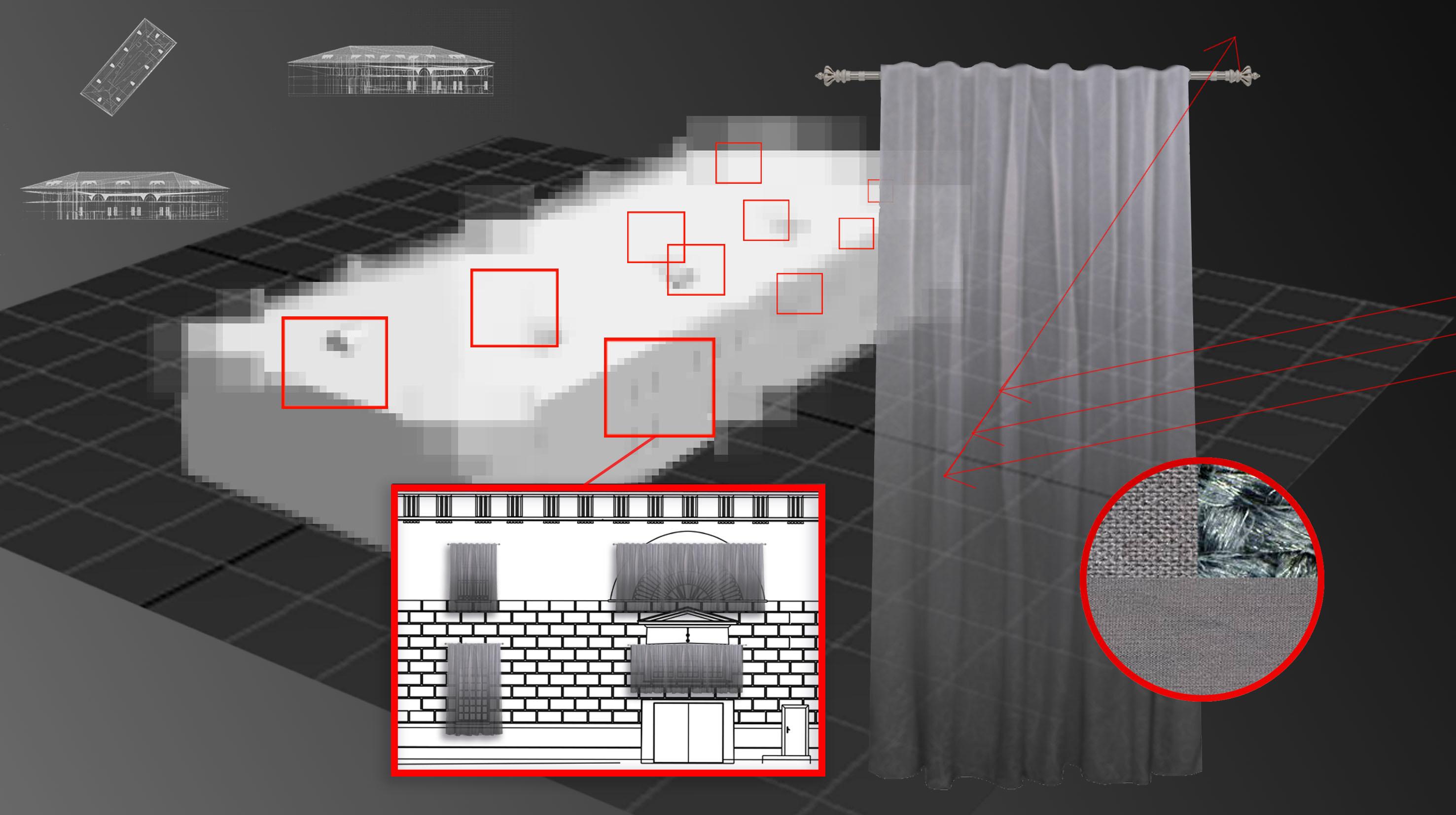 """""""Screen"""" — метафора того, как культурные институции проявляют свое стремление к автономии и того, как в современном мире происходят ограничения для доступа к информации. На окнах Музея Москвы художник задёрнул шторы из экранирующей ткани — материала, разработанного для снижения заметности военной техники"""