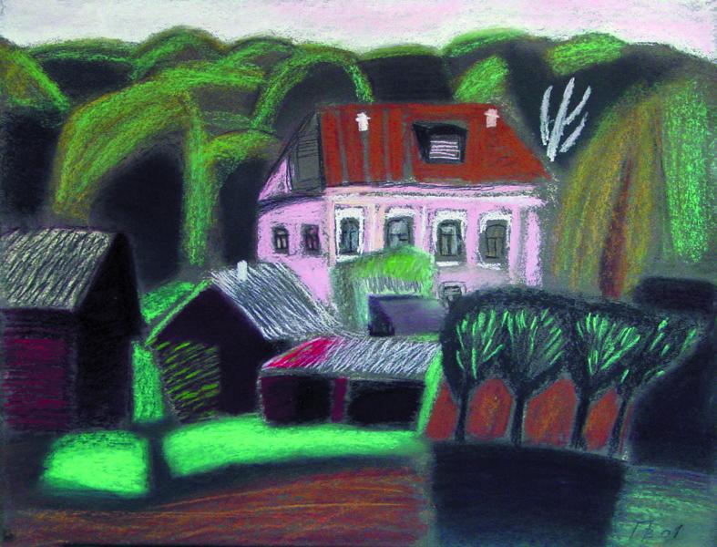 """""""Розовый дом"""" б., пастель, 50х65, 2001 г."""
