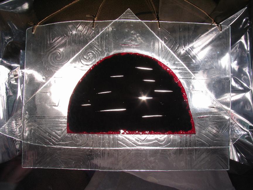 """""""Чум"""", медь, стекло, спекание 45х60,  2004 г."""